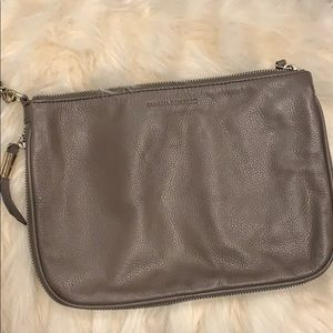 Banana Republic Gray/Brown Leather Clutch